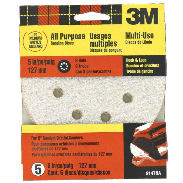 "3M 9147ES 5"" Medium Quick Change Discs for Dustless Sanders 5 Pack"