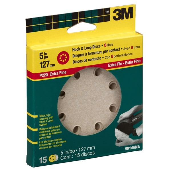 """3M 99145NA 220 Grit 5"""" Extra Fine Hook & Loop Disc Sander"""