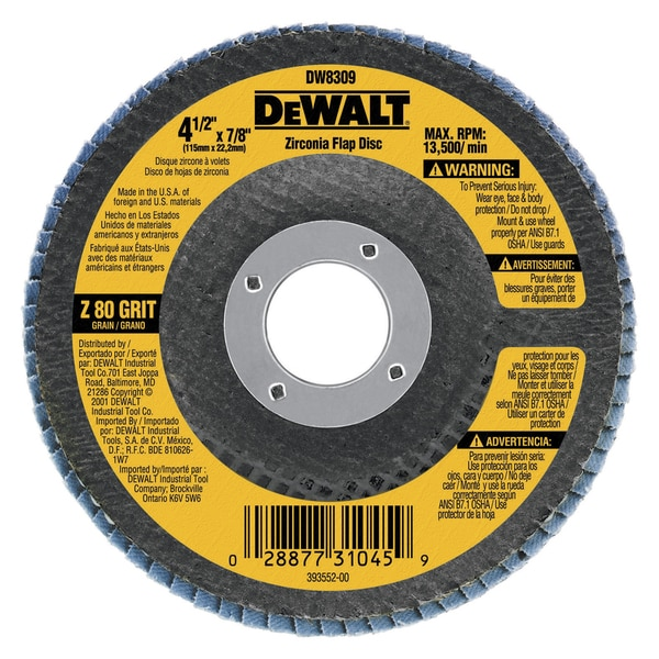 Dewalt DW8306 36 Grit Metal Working Abrasives Zirconia Flap Discs