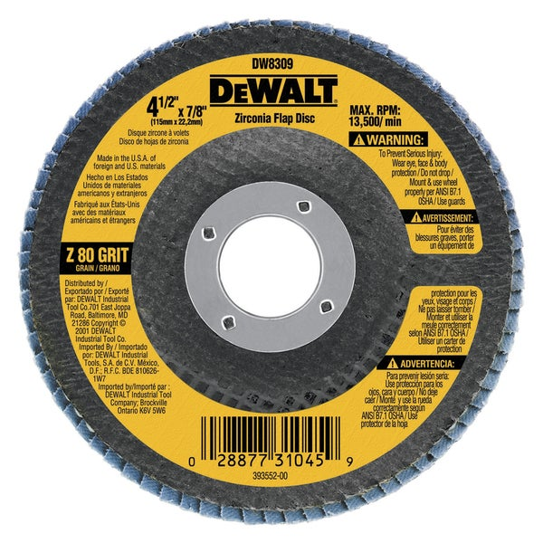 Dewalt DW8308 60 Grit Metal Working Abrasives Zirconia Flap Discs