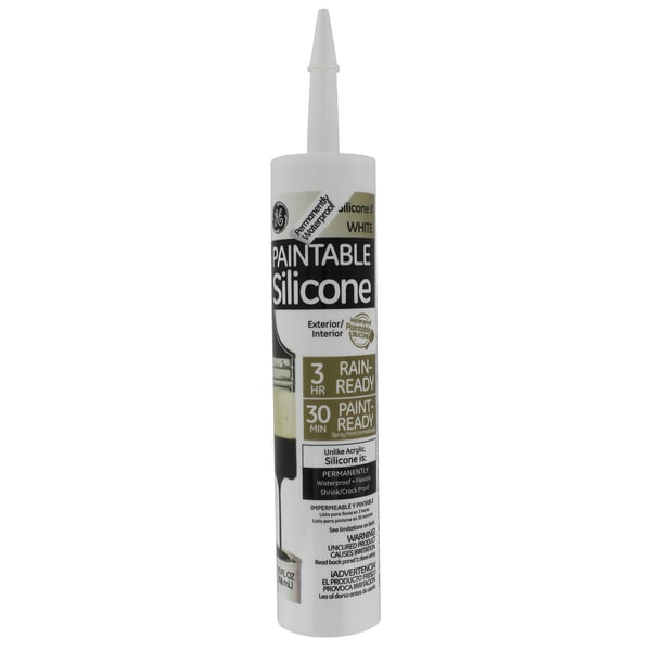 GE Silicone GE7000 10.1oz 9.0 Oz White Paintable Silicone II Caulk