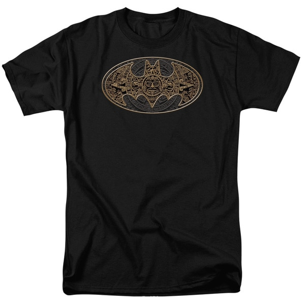Batman/Aztec Bat Logo Short Sleeve Adult T-Shirt 18/1 in Black