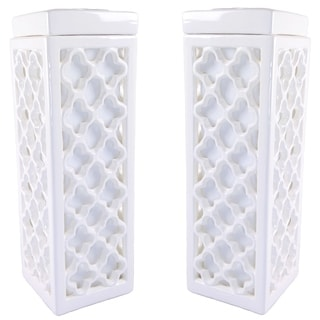 JT Lighting Dara White Ceramic Table Lamp (Set of 2)