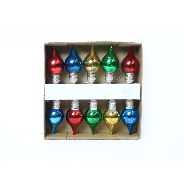 Alpine Multicolor Teardrop-shaped String Lights with 10 LED Bulbs
