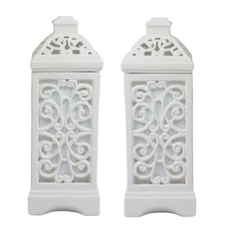 Dulce White Uplight Ceramic LIghts (Set of 2)