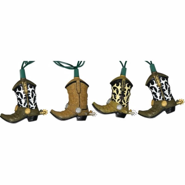 River's Edge Cowboy Boot Brown Plastic Party Light Set (10 Lights)