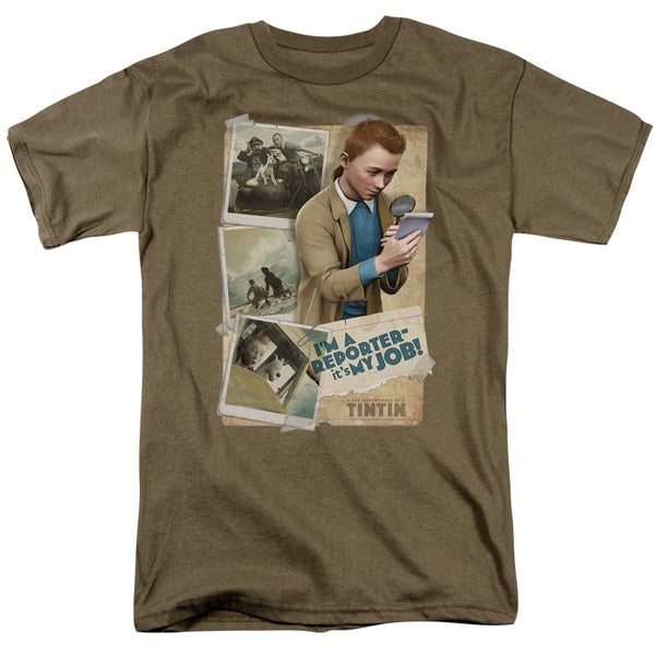 Tintin/I'M A Reporter Short Sleeve Adult T-Shirt 18/1 in Safari Green
