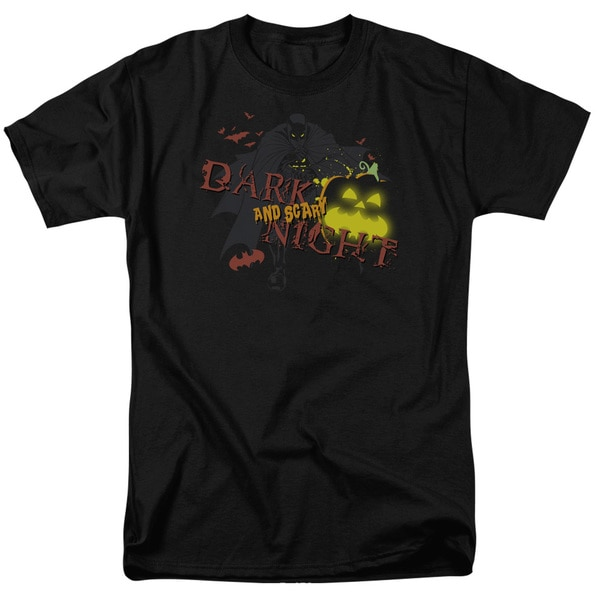 Batman/Dark and Scary Night Short Sleeve Adult T-Shirt 18/1 in Black