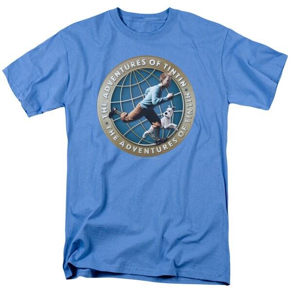 Tintin/Around The Globe Short Sleeve Adult T-Shirt 18/1 in Carolina Blue