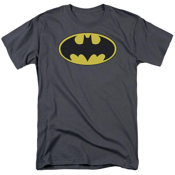 Batman/Classic Bat Logo Short Sleeve Adult T-Shirt 18/1 in Charcoal