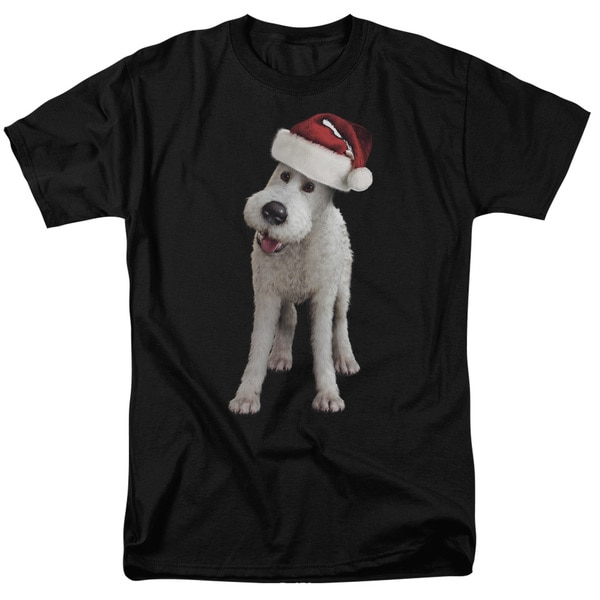Tintin/Kk Snowy Front/Back Print Short Sleeve Adult T-Shirt 18/1 in Black