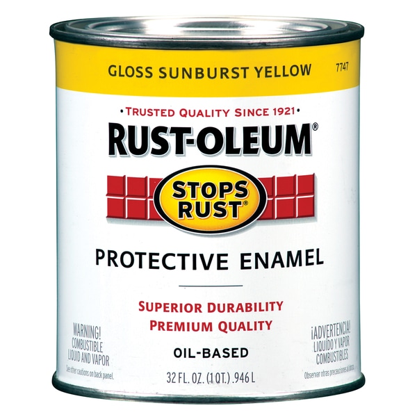 Rustoleum Stops Rust 7747-502 1 Quart Sunburst Yellow Protective Enamel Oil Base Paint