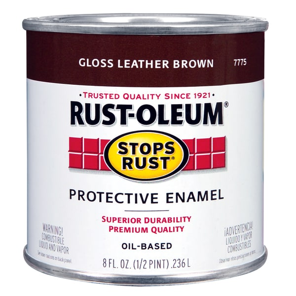 Rustoleum Stops Rust 7775 730 1/2 Pint Leather Brown Protective Enamel Oil Base Paint