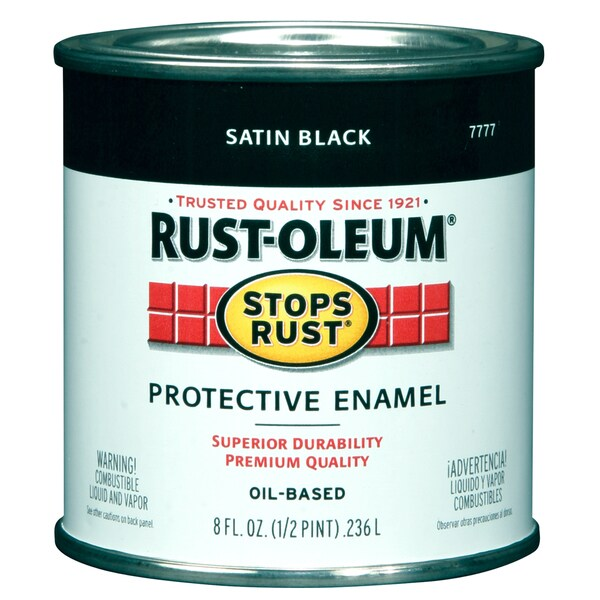 Rustoleum Stops Rust 7777 730 1/2 Pint Satin Black Protective Enamel Oil Base Paint