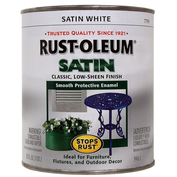 Rustoleum Stops Rust 7791-502 1 Quart Satin White Protective Enamel Oil Base Paint