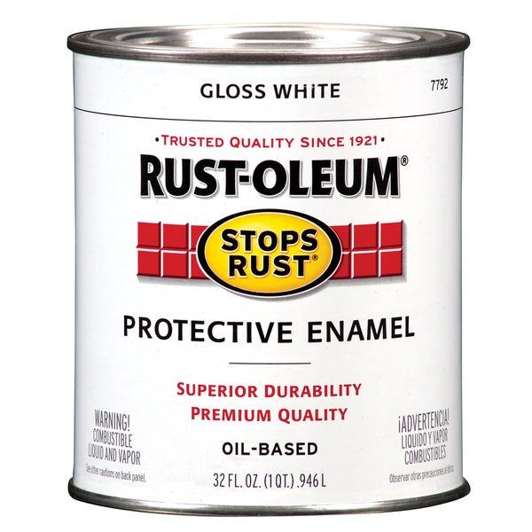 Rustoleum Stops Rust 7792 504 1 Quart High Gloss White Protective Enamel Oil Base Paint