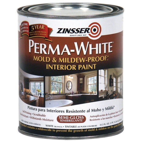Zinsser 02754 Quart Semi-Gloss Perma-White Mildew-Proof Bathroom Paint