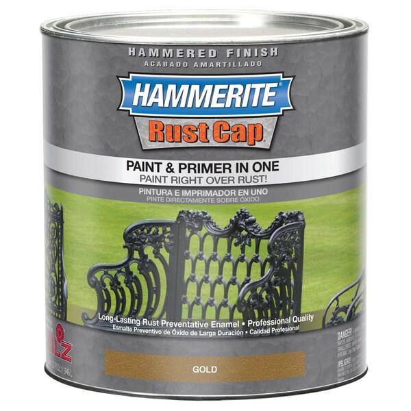 Hammerite Rust Cap 43170 1 Qt Gold Hammered Finish Enamel Paint
