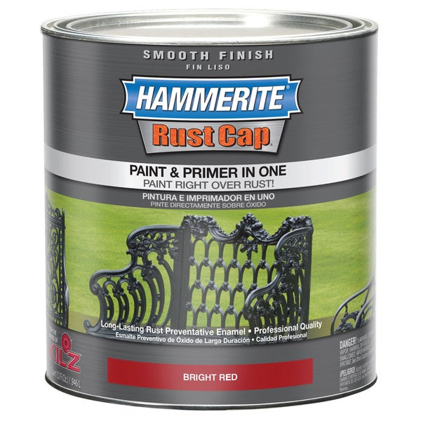 Hammerite Rust Cap 44210 1 Qt Bright Red Smooth Finish Enamel Paint