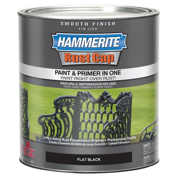 Hammerite Rust Cap 44235 1 Qt Flat Black Smooth Finish Enamel Paint