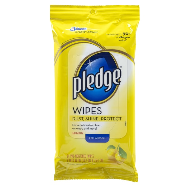 Pledge 72807 Lemon Scented Wipes 24-count