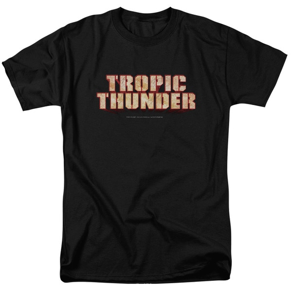 Tropic Thunder/Title Short Sleeve Adult T-Shirt 18/1 in Black