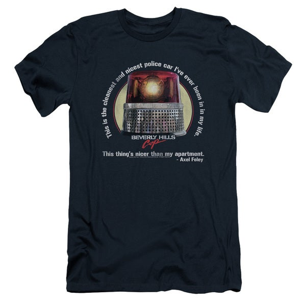 Bhc/Nicest Police Car Short Sleeve Adult T-Shirt 30/1 in Navy