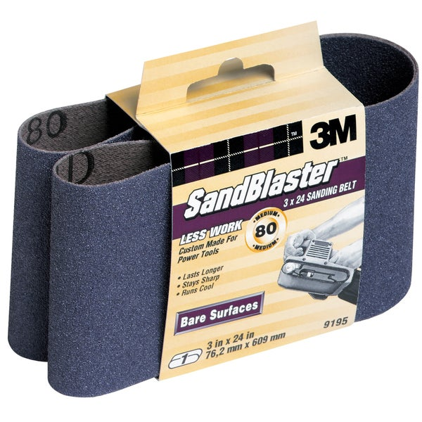 "3M 9195NA 3"" X 24"" 80 Grit SandBlaster Purple Sanding Belts"