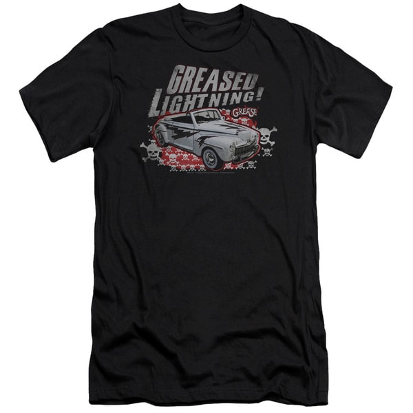 Grease/Greased Lightening Short Sleeve Adult T-Shirt 30/1 in Black