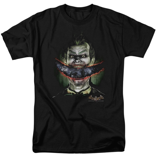 Batman Aa/Crazy Lips Short Sleeve Adult T-Shirt 18/1 in Black