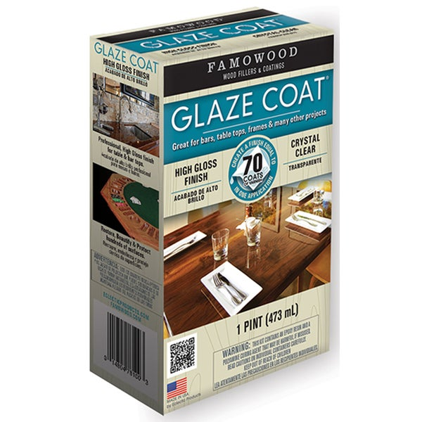 Famowood 5050060 1 Pint Crystal Clear Glaze Coat High Gloss Epoxy Coating
