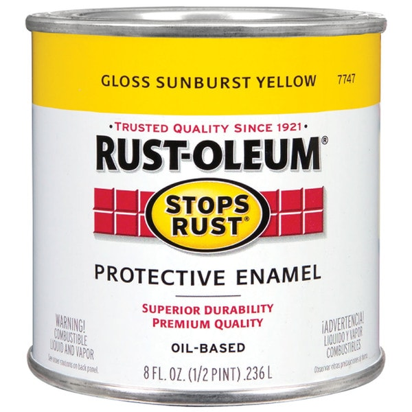 Rustoleum Stops Rust 7747-730 1/2 Pint Gloss Sunburst Yellow Oil Based Protective Enamel