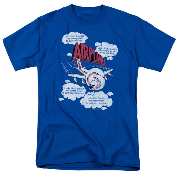 Airplane/Picked The Wrong Day Short Sleeve Adult T-Shirt 18/1 in Royal