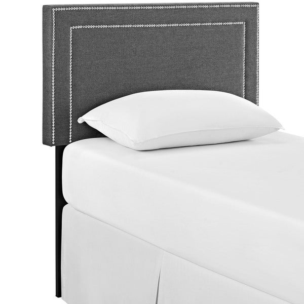 Jessamine Twin Grey Fabric Headboard in Gray