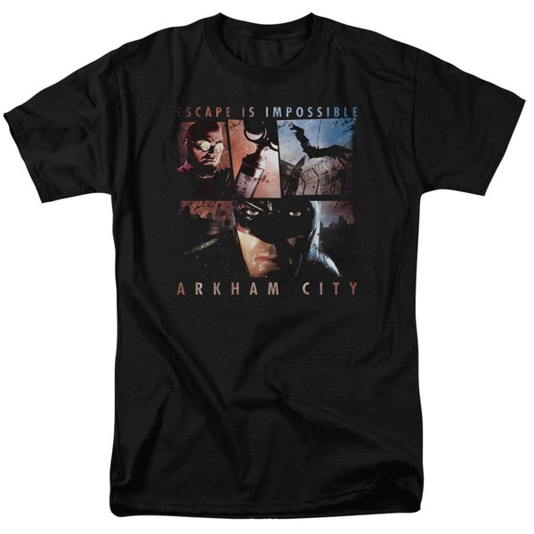 Arkham City/Escape Is Impossible Short Sleeve Adult T-Shirt 18/1 in Black