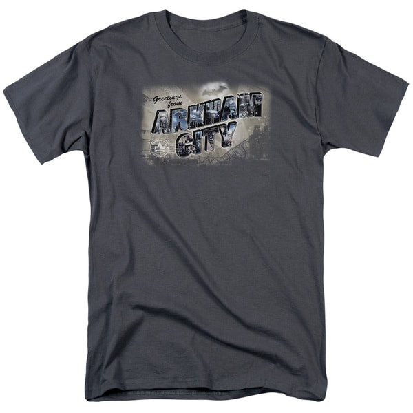 Arkham City/Greetings From Arkham Short Sleeve Adult T-Shirt 18/1 in Charcoal