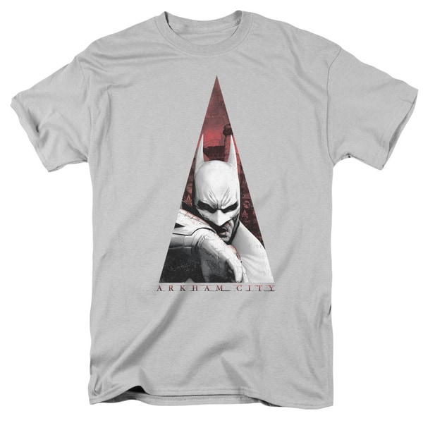 Arkham City/Bat Triangle Short Sleeve Adult T-Shirt 18/1 in Silver