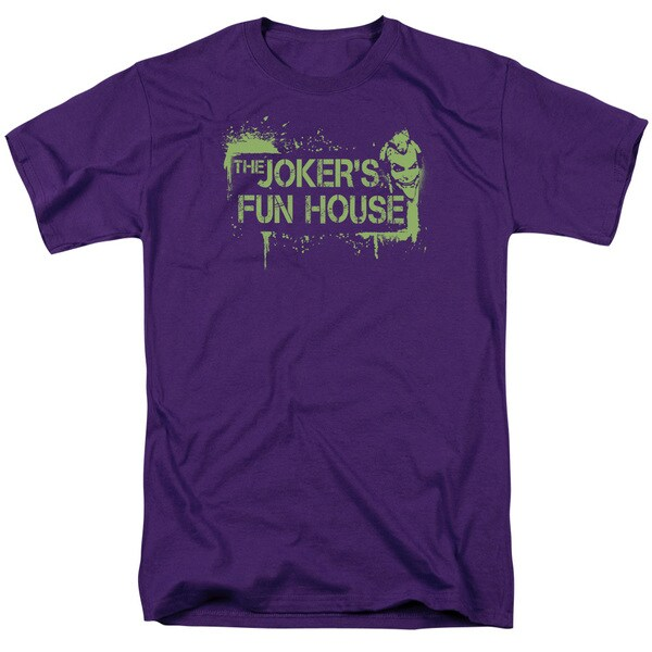 Arkham City/Joker's Fun House Short Sleeve Adult T-Shirt 18/1 in Purple