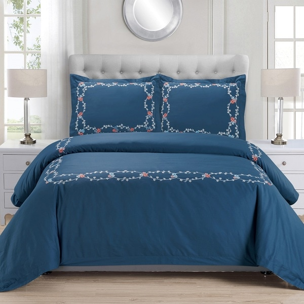 Superior Helena Premium Cotton Twill Embroidered Duvet Set