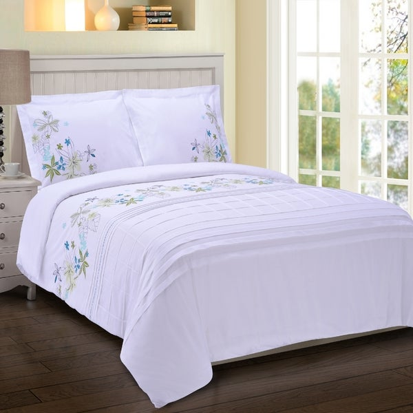 Superior Spring Blooms Premium Cotton Twill Embroidered Duvet Set