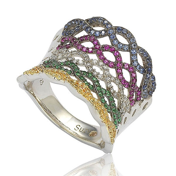 Suzy Levian Pave Italian Multi-Color Cubic Zirconia Sterling Silver Criss-Cross Ring