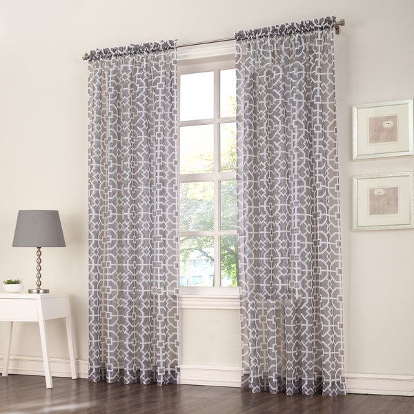 No. 918 Aires Grey Sheer Print Voile Window Curtain Panel 20108588