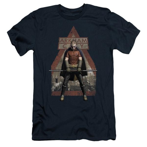 Arkham City/Arkham Robin Short Sleeve Adult T-Shirt 30/1 in Navy