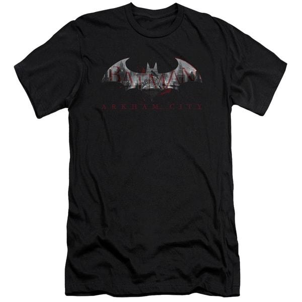 Arkham City/Bat Fill Short Sleeve Adult T-Shirt 30/1 in Black