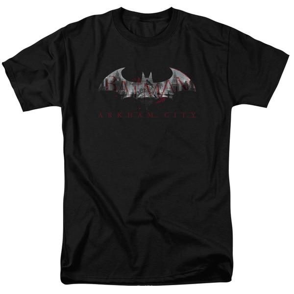 Arkham City/Bat Fill Short Sleeve Adult T-Shirt 18/1 in Black