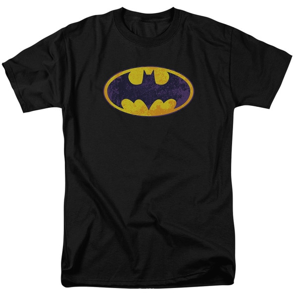 Batman/Bm Neon Distress Logo Short Sleeve Adult T-Shirt 18/1 in Black
