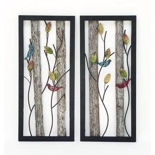 Urban Designs 'Birds in the Leaves' Wood/Metal 2-panel Wall Art