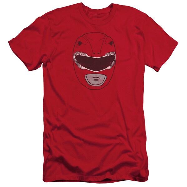 Power Rangers/Red Ranger Mask Short Sleeve Adult T-Shirt 30/1 in Red