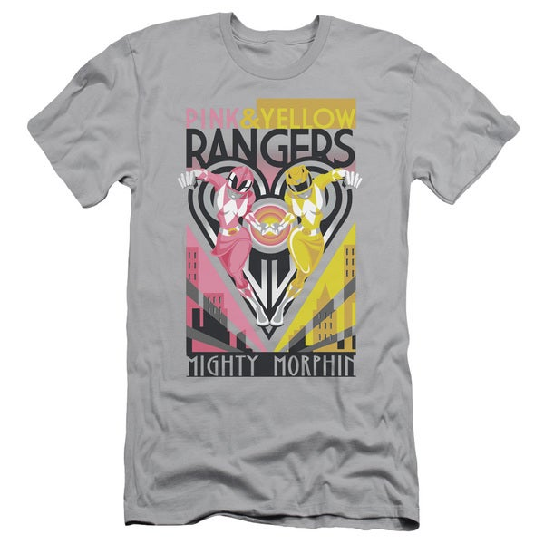 Power Rangers/Pink & Yellow Deco Short Sleeve Adult T-Shirt 30/1 in Silver