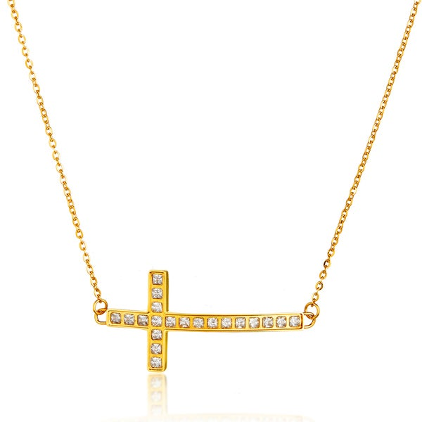 ELYA Gold Plated Sideways Crystal Cross Stainless Steel 18-Inch Cable Chain Necklace